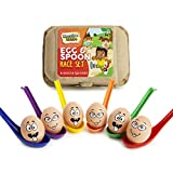 KreativeKraft Outdoor Games For Kids, Egg and Spoon Race Game For Garden, Outdoor Toys Kids Party Games, Set Includes 6 Easter Eggs & 6 Plastic Spoons, Family Games For Kids and Adults