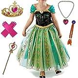 Cacilie Disfraz de princesa para niña, disfraz de carnaval, vestido de princesa, juego de diadema, guantes, varita mágica, peluca, collar, pendientes, anillos (#05 (con accesorios), 104-110)