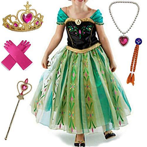 Anbelarui Prinzessin Kleid Mädchen Langes Festliches Karneval Kinder Glanz Kleider Weihnachten Verkleidung Karneval Partei Kostüm Outfit Halloween Fest(07 Kleid&zubehör,140