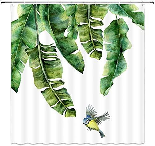 Cortina de ducha con diseño de hojas de palmera, diseño de hojas de palma, pájaro, acuarela, decoración de tela para baño, incluye ganchos de 176 x 172 cm