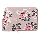 MOSISO Water Repellent Neoprene Sleeve Bag Cover Compatible with 13-13.3 inch Laptop with Small Case, Pink Rose
