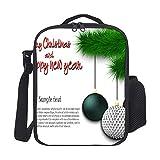 happygoluck1y pelota de golf para colgar en una rama de árbol de Navidad, modernas bolsas de almuerzo con correa para el hombro aislada, bolsa de almuerzo...