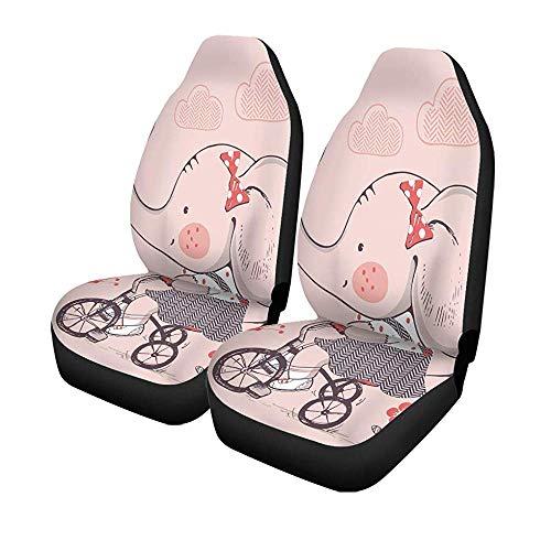 Set met 2 stoelhoezen voor auto, kleurrijk, olifant, voor meisjes, paardrijden, fiets, driewieler, kinderen, universeel, voor voorstoelen, bescherming tegen voorstoelen, 14-17 inch
