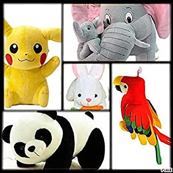 god Gift: Combo 5 pics animale Soft Toys Set Elephant 40cm with 2 Baby , Rabbit 30cm , Panda 30cm , Pikachu 30cm , Parrot 35 cm for Kids Playing Soft Toys