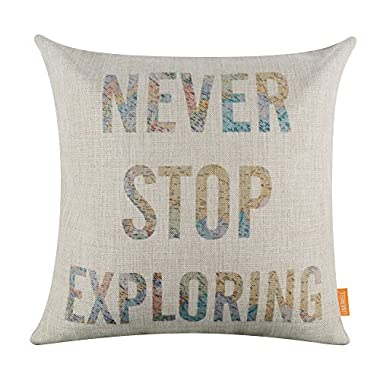 LINKWELL 18 x18  World Map Words Lettering Never Stop Exploring Home Decor Burlap Cushion Covers Pillow Case