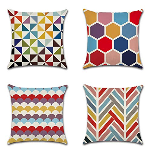 JOTOM Cushion Covers Decorative Cotton Linen Throw Pillow Case Sofa Car Pillowcase for Home Bed Decor 45 x 45cm,Set of 4 (Colorful Geometry)