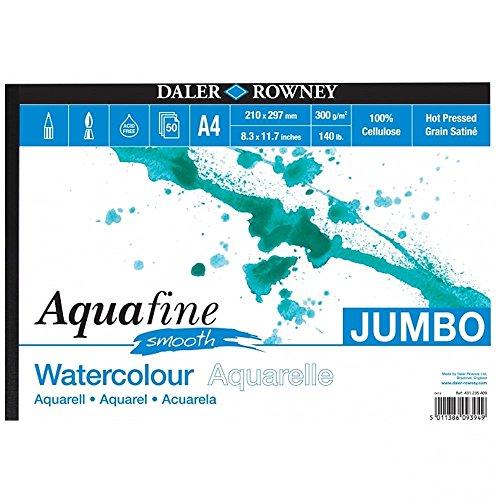 Bloc Encolado ideal para Acuarela DALER ROWNEY Aquafine, de Formato 21 x 29,7 cm, con 50 Hojas de Papel de 300 g/m2 de Grano Fino