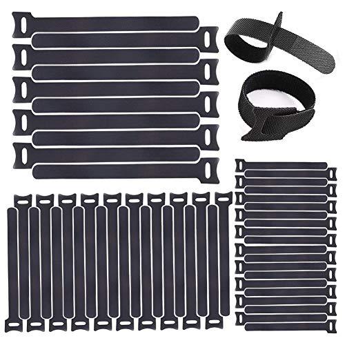 Organizador Cables,Tira Velcro 60 Piezas Brida Reutilizable Velcro Presilla Cinta Bridas Negro Y Loop Correa Sujetador Estilo Bridas Reusables Tiras - 3 Tamaños Diferentes