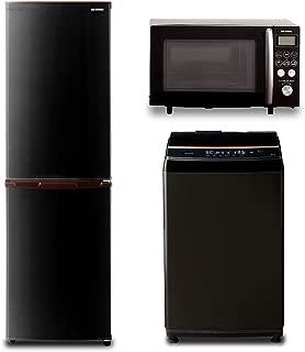 【新生活3点セット買い】アイリスオーヤマ 冷蔵庫162L ブラック + オーブンレンジ15L ブラック + 洗濯機8kg ブラック