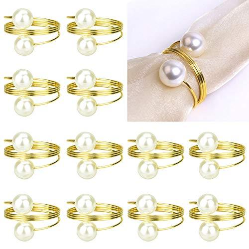 CODIRATO 12 Stück Serviettenringe Gold Serviettenschnalle Perlen Serviettenhalter Elegante Serviette Ringe für Weihnachten Tischdekoration, Hochzeit, Geburtstagsparty