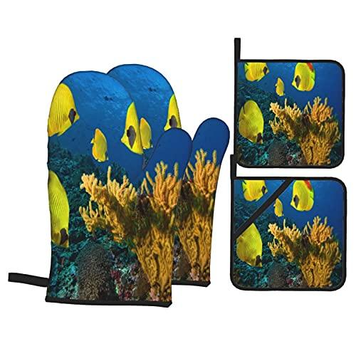 Juegos de Manoplas y Porta ollas para Horno,Foto de una Colonia de Coral Guantes de Cocina Resistentes al Calor para Hornear en la Cocina, Parrilla, Barbacoa,BBQ