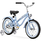 Firmstrong Girl's Bella Bicycle with Training Wheels, 16-Inch, Baby Blue