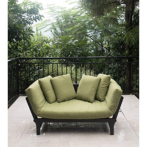 Outdoor Futon Convertible Sofa Daybed Deep Seating Adjustable Patio Furniture (Green)
