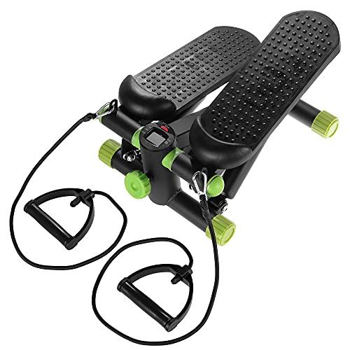 SportVida Stepper für Zuhause Aerobic - Tacho und Schrittzähler - Verstellbarer Widerstand - Expander - Vertical Climber (Schwarz-Grün)