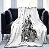 Xinclubna Disney Castle Blueprints Super Soft Microfleece Blanket, Used On Bed Sofa Bed Adult Parents and Children Throw Blankets Suitable for All Seasons60 X50