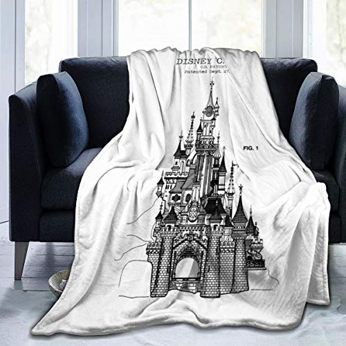 NANXIAN Disney Castle Blueprints Super Soft Microfleece Blanket Used On Bed Sofa Bed Adult Parents and Children Throw Blankets Suitable for All Seasons50 X40