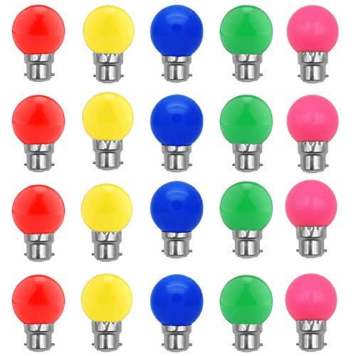 Ampoules à baïonnette B22-Paquet de 20 Ampoule à DEL Feston 2W,Ampoule (équivalent 20W) à économie d'énergie bleue Golfball, Petites ampoules de Noël BC Cap,Rouge, Jaune, rosa, verte, Bleu, Incassable