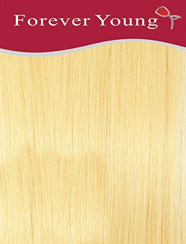 Forever Young Clip en Extensions de cheveux humains Tête Demi 40 g 45,7 cm Longueur bébé Blond # 60