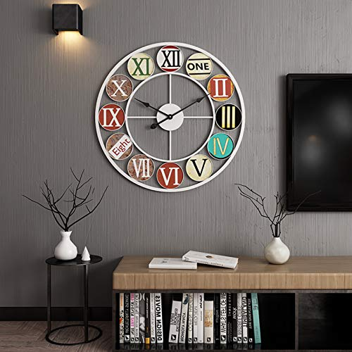 Reloj Pared Grande XXL - Reloj de Pared de Metal Estilo Vintage - Reloj de Pared 3D Silencioso Números Romanos Redonda para Salón Dormitorio Cocina,50cm