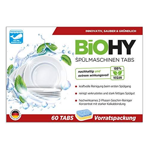 BiOHY Spülmaschinen Tabs (60 Tabs) | 2-Phasen- hochwirksamer Geschirr-Reiniger | Geschirrspültabs für kraftvolle Reinigung | Vorratspackung