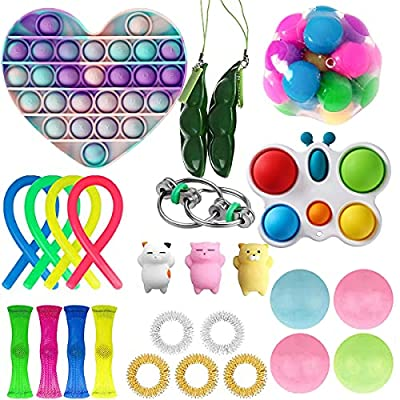 27Pcs Fidget Toys Set, Juguetes Fidget Sensoriales Baratos, Alivio Del Estrés y Juego de Juguetes Fidget Anti-Ansiedad, Juguetes Fidget de Burbujas Sensoriales Push Pop (27-A) de Nokiwiqis