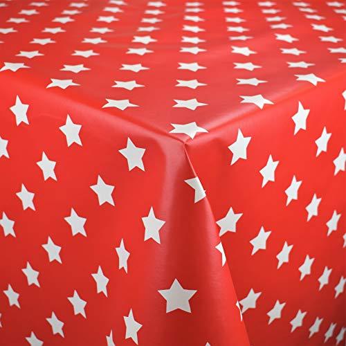 Toile Cirée Nappe Table au Mètre Noël Étoiles Dessin Taille au Choix en Carré Rond Ovale (140 X 210 cm Oval, M90352 Rouge)