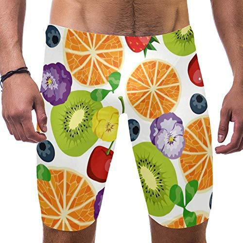 LORVIES Oranjes en Kiwi Fruit Bloemen Patroon Mannen zwemmen Shorts Surf Zwembroek Zwempak Snelle Droge Zwemkleding, S