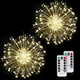 Firework Lights 150 Led Copper Wire Starburst String Lights 8 Modes Battery Operated Fairy Lights with Remote ,Warm White Hanging Christmas Lights for Party Patio Wedding Waterproof Decoration 2 Pack