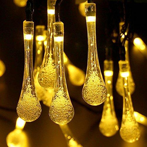 Luces de hadas al aire libre, 40 luces solares de la secuencia del LED Gota del agua, Jardín impermeable,Cerca, Navidad,árbol, Hogar,Fiesta, Decoración del Iluminación, 8 m, 8 Modos (Blanco Cálido)