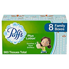 Pack includes 8 Family Boxes (120 Tissues per Box) of Puffs Plus Lotion Facial Tissues America's number 1 selling Lotion Tissue Puffs softest, most cushiony tissue, with a touch of lotion, to help protect your nose Puffs Plus Lotion helps soothe irri...