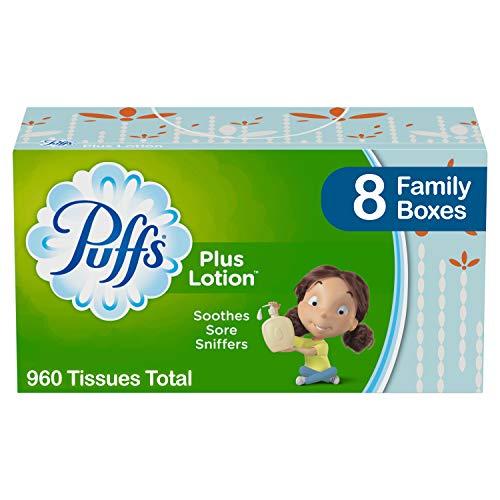 Puffs Plus Lotion - Pañuelos faciales, 8 cajas familiares, 120 pañuelos por caja (960 pañuelos en total)