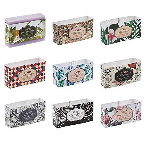 PandaHall 90pcs Jabón Wrapper 9 Estilo Flor Wrap Papel Cinta Vertical Jabón Etiqueta f para Embalaje Casero Barra de Jabón