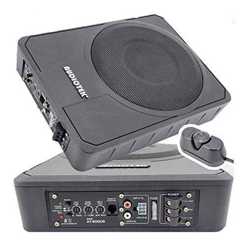 "Audiotek 10"" 400W RMS Slim Under-Seat Active Power Audio Car/Truck Subwoofer SUB"
