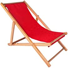 High-quality recliner Zero Gravity Chair Outdoor Wood Folding Deck Chair, Siesta Chaise Sun Lounger Collapsible Recliner Chair for Balcony Beach Garden Sun Lounger (Color : Red)