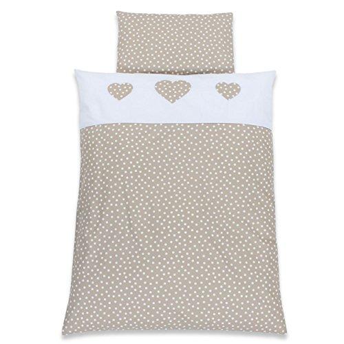 Babybay Parure de lit pour enfant Motif cœur Blanc