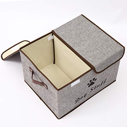 Morezi Large Dog Toys Storage Box Canvas Storage Basket Bin Organizer with Lid - Perfect Collapsible Bin for Organizing Dog Cat Toys and Accessories - LightGray