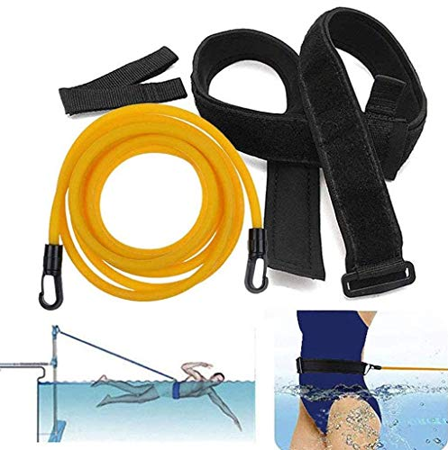 Best Price FEDULK Swim Training Belts Swim Bungee Cords Resistance Bands Swim Tether Stationary