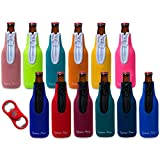 Eximius Power 12 pk Color Sleeves Beer Bottle Party Drink Thermal Coolies | Extra Thick 4mm Neoprene Beer Holder Keeper| Fully Stitched Neoprene Bottom & Zipper Bonus Fidget Bottle Opener