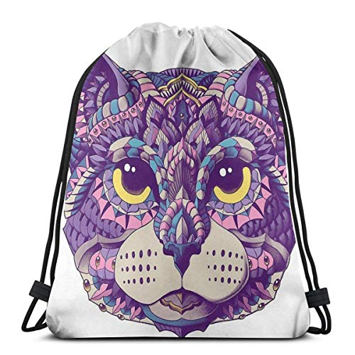 Cat Head Color Version Waterproof Foldable Sport Sackpack Gym Bag Sack Drawstring Backpack