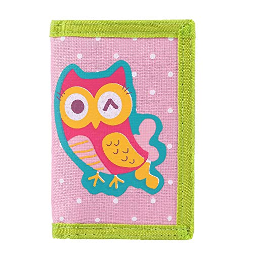 RFID Trifold Canvas Outdoor Cartoon Wallet for Kids/Slim Front Pocket Wallet with Zipper (Owl)
