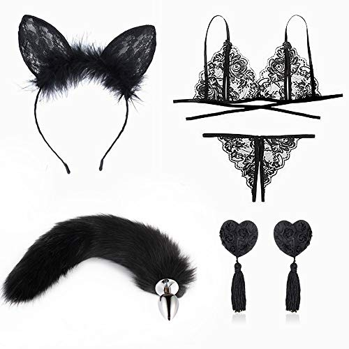 Love Life Tail Fox Plùg Traje de diadema con orejas y lencería sexy Accesorios de cosplay de Halloween para mujeres y hombres (M)