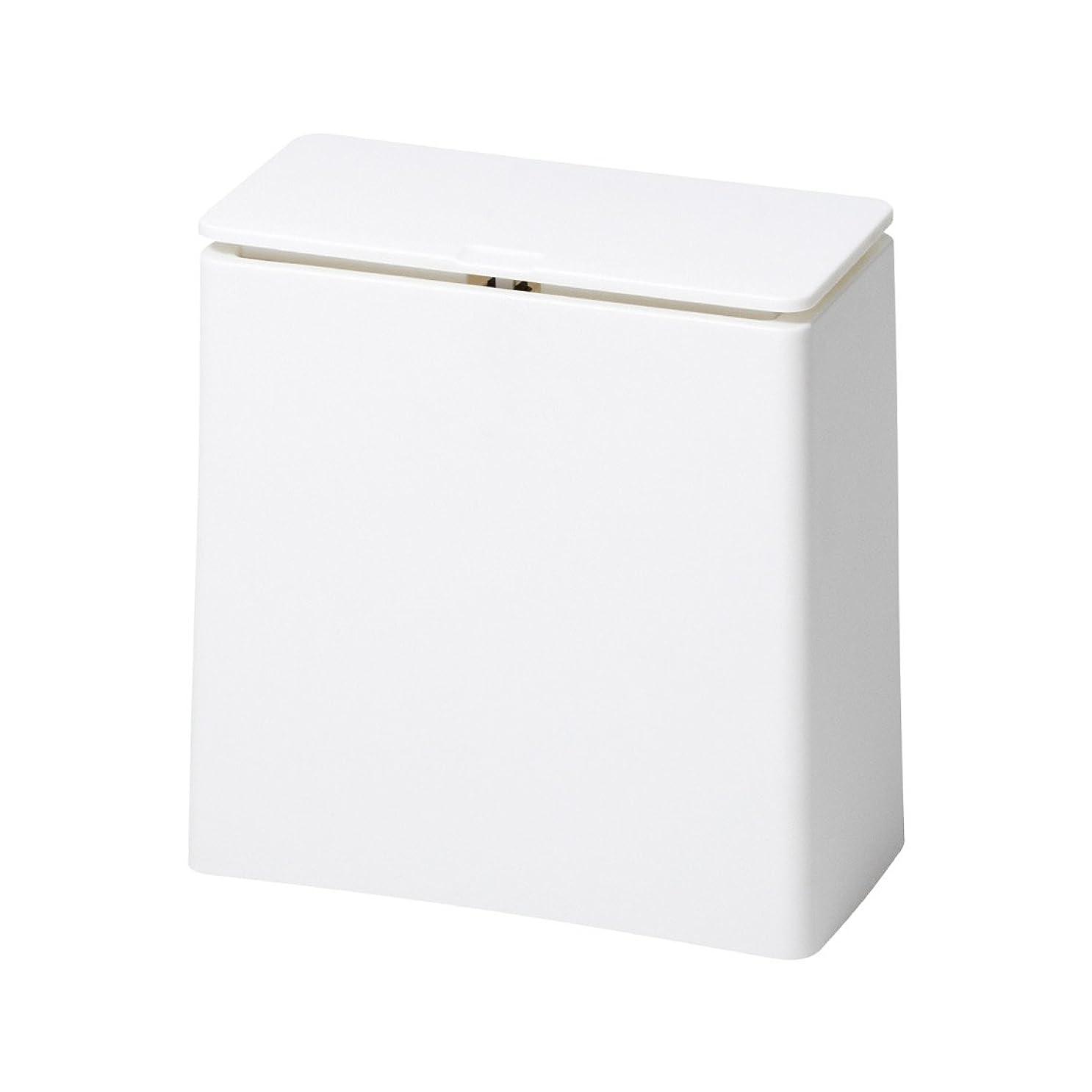 キリンイル滞在イデアコ フタ付ゴミ箱 チューブラー ミニ フラップ ホワイト 1.4L