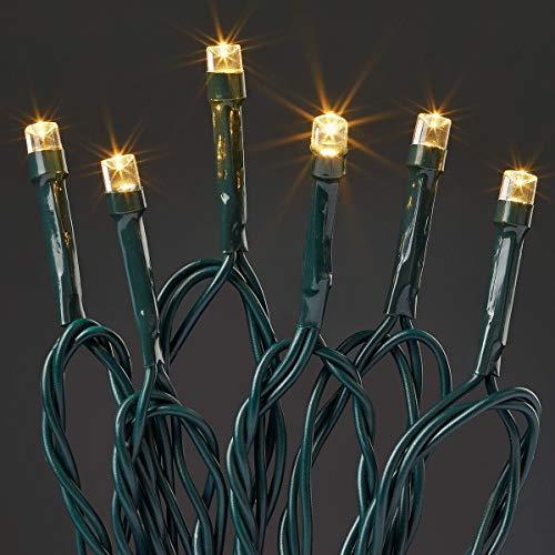 Hellum 577334 LED Lichterkette 80 LEDs warmweiß / 17,9 m/innen & außen/Zuleitung 10 m grün