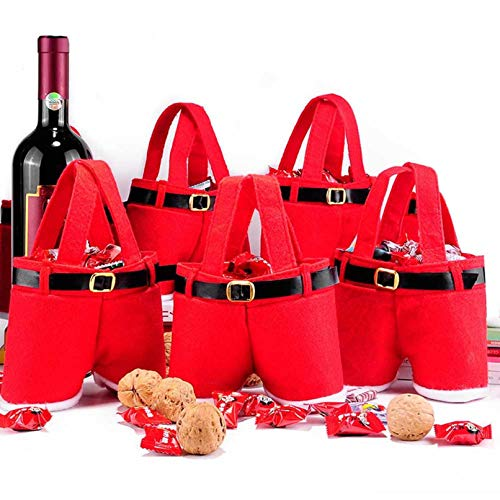 Santa Claus Pants Gift Bag, Christmas Bags for Gifts, Candy Bag Favors, Present Basket, Portable Wedding Candy Tote Bag Romper Bag Box for Party Home Decor (10PCS)