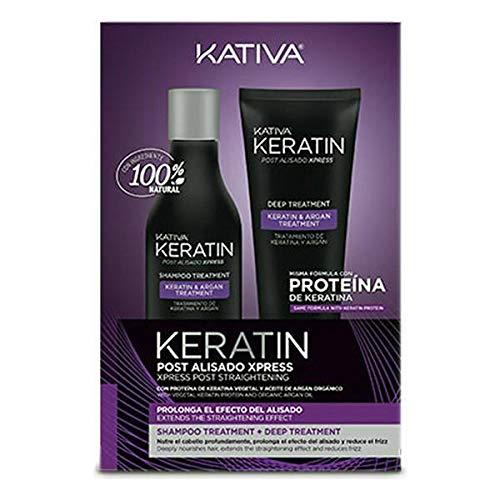 Kativa KERATIN Post Alisado Xpress Shampoo Treatment + Deep Treatment - POST-Kit mit Keratin Shampoo 250 ml + 200 ml Maske mit pflanzlichem Keratin und Arganöl