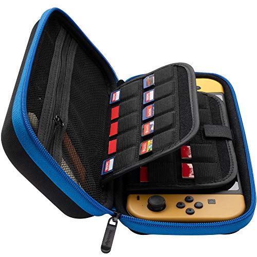 ButterFox Carrying Case for Nintendo Switch, 19 Game Card Holders and Large Accessories Pouch