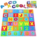 Kangler Kids Foam Puzzle Play Mat (36-Piece Set) 12X12 Inches Interlocking Floor Tiles with Alphabet and Numbers