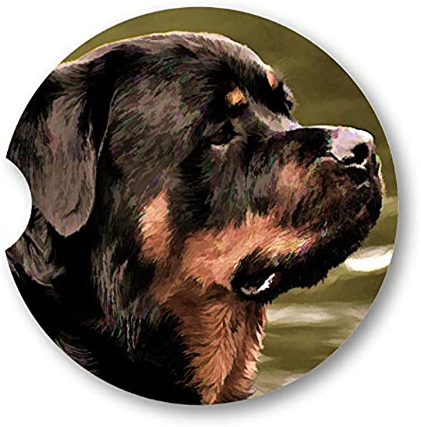 Simulated Oil Painting Rottweiler Portrait Sandstone Car Coasters Set Of 2