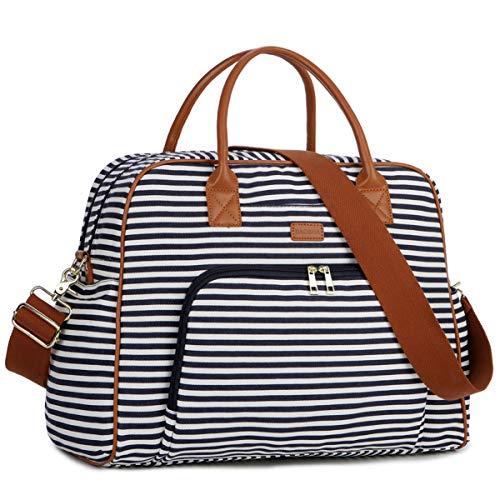 BAOSHA BAOSHA Canvas Handgepäck Weekender Tasche Segeltuch Reisetasche Travel Duffel Carry On Bag for Damen & Frauen HB-33 (Blaue Streifen)