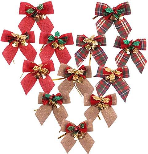 YUIP Weihnachtskranz, Rot Zierschleifen Weihnachtsdeko Weihnachten Baumschmuck Schleifen Mini Leinen Kariert Geschenkschleife Glocken Bowknot mit Jingle Bell 12 Stücke